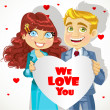 Cute man and woman holding banner heart We love you — Image vectorielle