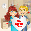 Cute business man and woman in office holding banner heart We love you — Imagen vectorial