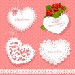 Stock Vector: Set of cards Valentine heart-shaped for your congratulations on seamless background