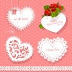 conjunto de valentine de cartões em forma de coração para suas felicitações no fundo sem emenda — Vetorial Stock