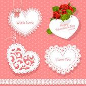 Satz von Karten Valentine in Herzform für die Glückwünsche auf nahtlose Hintergrund — Stockvektor