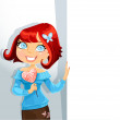 Cute girl with candy-heart keeps banner for your text — Stock vektor