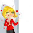 Cute blond girl with sweet candy-heart keeps banner for your text — Stock Vector