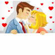 Beautiful young couple in love kissing and holding big banner — Stock Vector