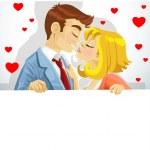 bella giovane coppia in amore, baciare e tenendo grande striscione — Vettoriale Stock