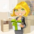 Business lady in morning office gives a gift from the company — Stock Vector