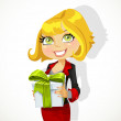 Cute young woman gives a gift - Stock Vector