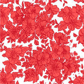 Beautiful seamless pattern of wild scarlet flowers — Stock Vector