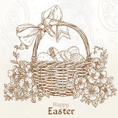 Happy Easter card with a basket of Easter eggs in vintage colors — Stock Vector