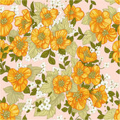 Seamless pattern of yellow wildflowers — Stock Vector