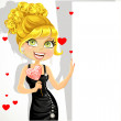 Beautiful girl in evening dress with sweet-heart candy holds a banner — Vector de stock