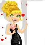 bella ragazza in abito da sera con la caramella dolce cuore tiene un banner — Vettoriale Stock