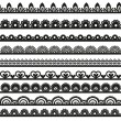 Large set of openwork lace borders black silhouette for your design — Stockvektor