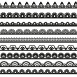 Large set of openwork lace borders black silhouette for your design — 图库矢量图片