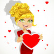 Blond girl in red evening dress shows valentine banner — Stok Vektör