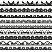 Large set of openwork lace borders black silhouette for your design — Stock Vector