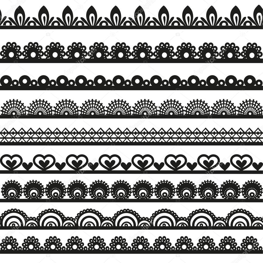 Large set of openwork lace borders black silhouette for your design — Stock Vector #19344215