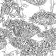 Vector de stock : Vintage grey seamless pattern of wild flowers graphics
