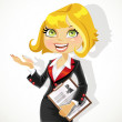 Blond business woman explains something or gives a presentation — Stock Vector