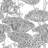 Vintage grey seamless pattern of wild flowers graphics — Stock Vector