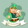 Cute fat Leprechaun . Poster St. Patrick's Day  — Stockvektor