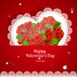 Laced with red roses applique Valentine card — Stockvectorbeeld