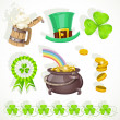Saint patricks day elements set for design - Stock Vector