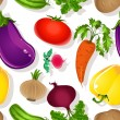 Stock Vector: Seamless pattern of bright vegetables on a white background - tomato, beet, eggplant, cucumber