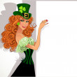 Royalty-Free Stock Vector Image: Pretty slim red-haired girl Leprechaun holding a large banner for your message