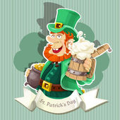 Cute Leprechaun with beer and pot of gold celebrating St Patrick's Day - Poster — Stock Vector