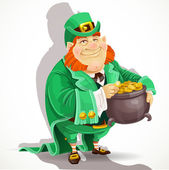 Cute big fat Leprechauns guard the pot of gold — Stock Vector