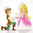 Prince was on his knees asking the princess marriage — Stock Vector