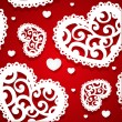 Seamless pattern of appliques of hearts Valentine — Векторная иллюстрация