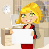 Business lady in office showing blank banner — Stock Vector
