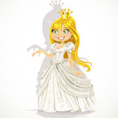 Cute princess in a white dress gives a hand expressing a consent — Stock Vector