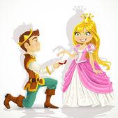 Prince var på knä frågar prinsessan äktenskapet — Stockvektor
