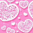 Pink seamless pattern of appliques of hearts Valentine and diamonds — Imagen vectorial
