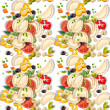 Seamless pattern of Ukrainian national dish dumplings with greens and vegetables — Stock Vector #21010589