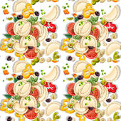 Seamless pattern of Ukrainian national dish dumplings with greens and vegetables — Stock Vector