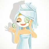 Cute girl in a cosmetic mask pack puts cucumbers on eyes — Stock Vector