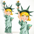 Blonde girl dressed as the Statue of Liberty with torch — Stock Vector