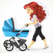 Cute mother with a blue pram on walk isolated on white background — Stock Vector #21222853
