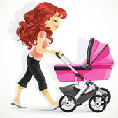 Cute mother with a pink pram on walk isolated on white background — Stock Vector