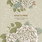 Flores mágicas sueñan vintage backriound — Vector de stock