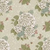 διακοσμητικό στολίδι άνευ ραφής vintage χρώμα στυλιζαρισμένα λουλούδια και μούρα — Διανυσματικό Αρχείο