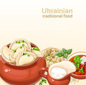 Ukrainian traditional food background with dumplings and soup for your design — Stock Vector
