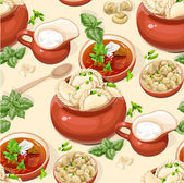 Seamless pattern of Ukrainian traditional red borscht with sour cream and dumplings — Stock Vector
