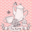 Royalty-Free Stock Vector Image: Vintage sweets and tea - tea party banner