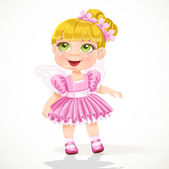 Cute little girl in a pink ballet skirt and wings — Stock Vector