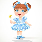 Little girl in a blue ballet tutu and magic wand — Stock Vector